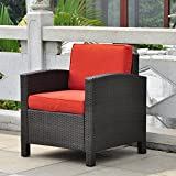 International Caravan Barcelona All-Weather Wicker Contemporary Patio Lounge Chair with Cushions