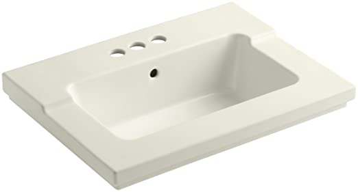 KOHLER K-2979-4-96 Tresham One-Piece Surface and Integrated Bathroom Sink with 4-Inch Centerset Faucet Drilling, Biscuit
