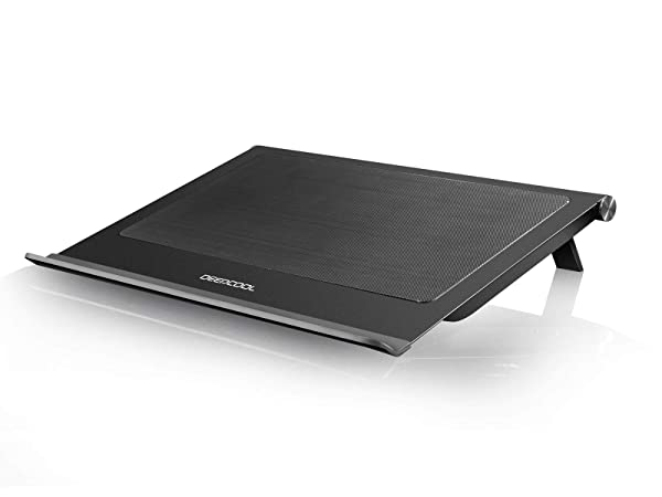 DEEPCOOL N65 Laptop Cooling Pad, Dual 140mm Fans of 1000RPM, Full-Metal Panel, Removable Dust Filter, Anti-Slip Baffle, Two Adjustable Supporting Angles, USB3.0 Output Design (Color: N65)
