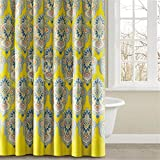 CozyNest 72 X 72 Inch Yellow Paisley Bansuri Pattern Kids Bthroom Shower Curtain- Indian Flower Polyester Fabric Shower Curtain Ideas
