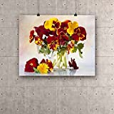 ArtzFolio bunch of flowers pansies in a jar of glass Canvas Art Print with Frame - Size 35.0 inch x 27.9 inch