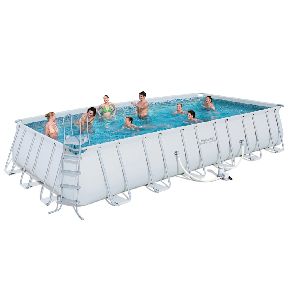 Bestway 56229gs swimming pool komplettset 732 x 366 cm planschbecken - Viereckiger pool ...