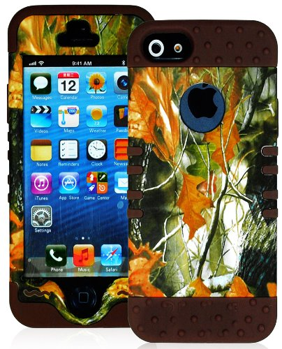 Mylife (Tm) Brown - Leaf Camouflage Series (Neo Hypergrip Flex Gel) 3 Piece Case For Iphone 5/5S (5G) 5Th Generation Itouch Smartphone By Apple (External 2 Piece Fitted On Hard Rubberized Plates + Internal Soft Silicone Easy Grip Bumper Gel + Lifetime War