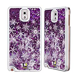 Head Case Designs Snowflakes Winter Prints Purple Liquid Glitter Case Cover for Samsung Galaxy Note 3