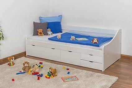 Bett mit Stauraum Kiefer massiv Vollholz weiß lackiert 94, inkl. Lattenrost - Abmessung 90 x 200 cm