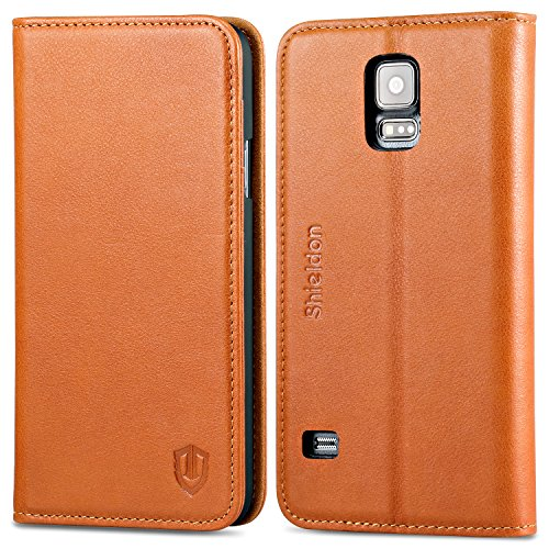 Galaxy S5 Case, SHIELDON Genuine Leather Case, Premium Wallet Case in Flip Book Style with Stand Feature & ID Credit Card Compartments [Magnetic Closure] for Samsung Galaxy S5 ONLY, Cognac Brown (Make Your Own Galaxy S5 Case compare prices)