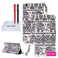 buy Iphone 5 Case, Iphone 5S Leatehr Case, Aco-Uint Cute Elephant Pattern Premium Pu Leather Flip Magnet Wrist Strap Wallet Stand Case Cover For Iphone 5 5S With Two Stylus Pens/2 Screen Protector/Aco-Uint® Microfiber Cleaning Cloth Included (Case Cover 2)