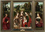 'Anonymous Desposorios Misticos De Santa Catalina (triptico) Ca. 1520 ' Oil Painting, 10 X 14 Inch / 25 X 36 Cm ,printed On Polyster Canvas ,this Beautiful Art Decorative Prints On Canvas Is Perfectly Suitalbe For Kitchen Gallery Art And Home Decoration And Gifts