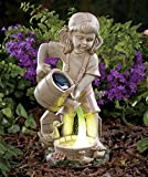 """Girl Child with Ducks and Solar Watering Can Garden Yard Statue Ceramic On/off Switch 5-1/4""""w X 5-1/2""""d X 12""""h"""