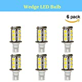 Makergroup T5 T10 Wedge Base LED Light Bulbs High Brightness 12VAC/DC 3Watt Cool White 6000K for Outdoor Landscape Lighting Deck Stair Step Path Lights and Automotive RV Travel Tailer Lights 6-Pack (Color: Cool White, Tamaño: 3W 6-Pack)
