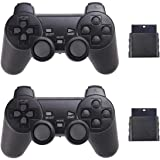 Wireless Controller for PS2 Playstation 2 Dual Shock 2 (Black and Black) (Color: Black and Black)