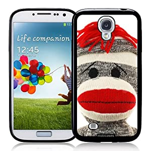Sock Monkey Face - Protective Designer BLACK Case - Fits Samsung Galaxy S4 i9500