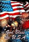 Patriotic God Bless USA Firework Double Sided House Flag 28 x 40