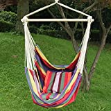 "Adeco Hammock Chair with 2 Pillows Tree Hanging Suspended Outdoor Indoor Bed, Bermuda Color, 63"" Wide"