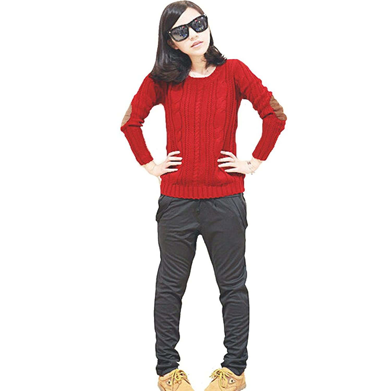 Red Sweaters Fried Dough Twist Patch Pullovers Knitwear U1-016