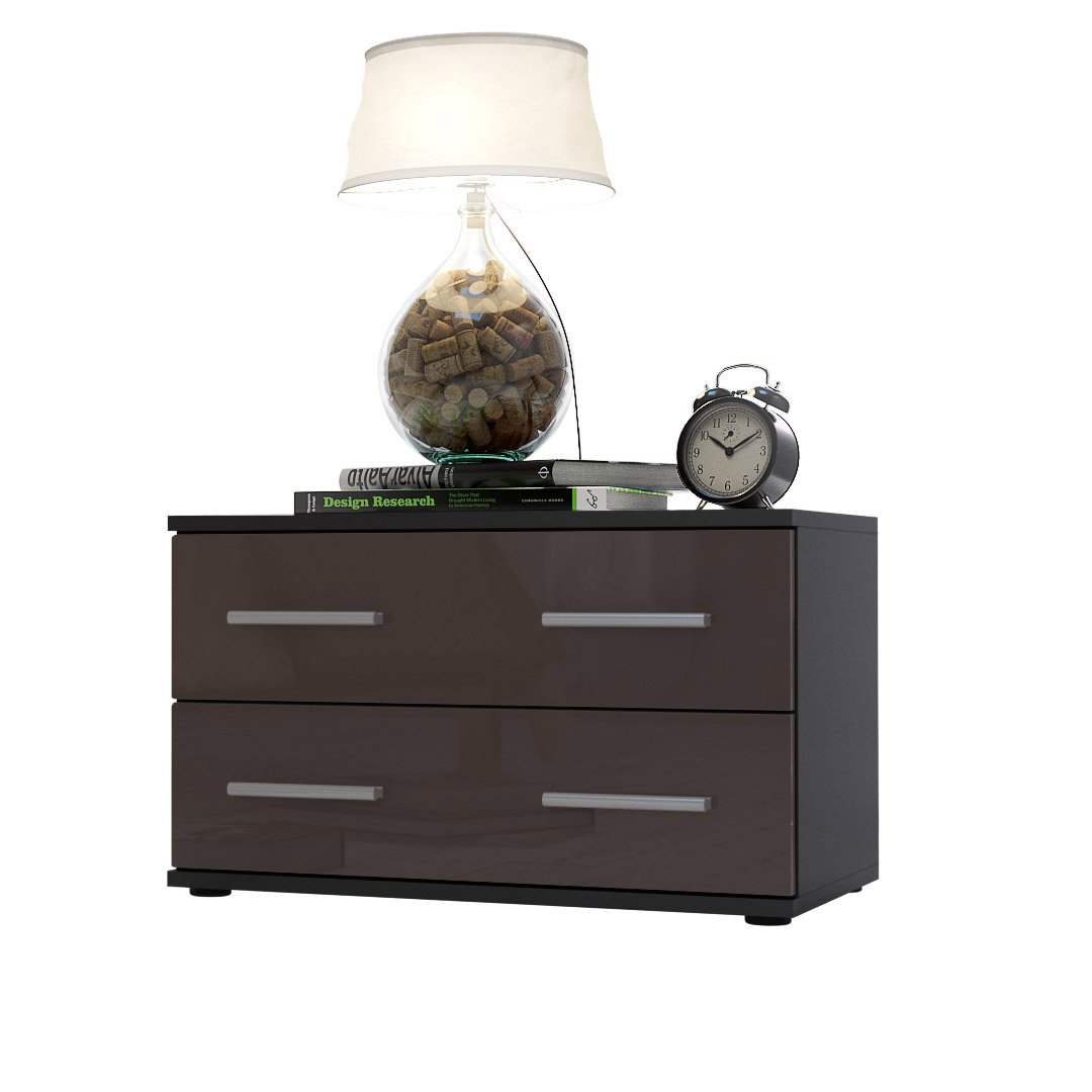Bedroom Bedside Cabinet Kioto in Black / Chocolate High Gloss       reviews