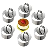 ONEDONE Cake Molds Stainless Steel Cake Rings Cake Mousse Mold with Pusher,3.15in Diameter, Set of 6 (Round) (Tamaño: Round)