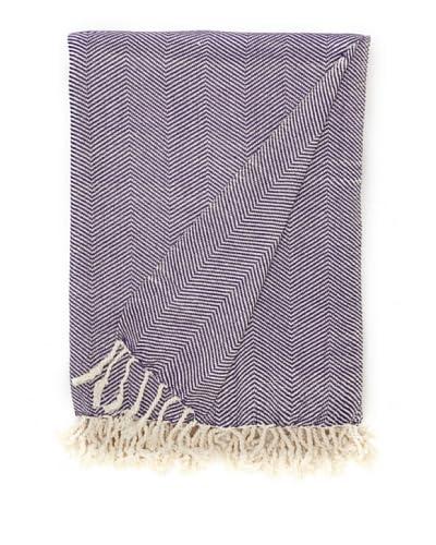 Nine Space Viscose from Bamboo Herringbone Throw, Purple As You See