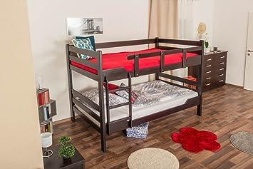 """Etagenbett fur Erwachsene """"Easy Möbel"""" K16/n, Kopf- und Fußteil gerade, Buche Vollholz massiv Schokobraun- Liegefläche: 120 x 200 cm, teilbar"""