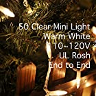 LIDORE® 50Counts Super Bright Clear Mini Christmas tree Lights. Warm White Color. Best Gift for Decoration. End to End Connection. Set of 50