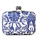 #10: Hopping Street Push Tack Navy Blue Printed Box Clutch