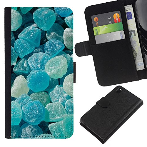 iBinBang / Flip Wallet Design Leather Case Cover - Crystal Meth Rocks Candy Blue Beach -Sony Xperia Z3 D6603 / D6633 / D6643 / D6653 / D6616