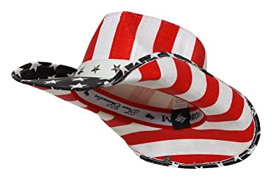 2dd1da8b8da Peter Grimm Ltd Men s Justice American Flag Star Studded Straw Cowboy Hat  Hand Woven Construction Red and white stripes accent crown and underside of  brim  ...