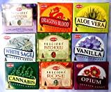 Räucherkegel Mix 9 verschiedene HEM je 10 Stück Cannabis Rose