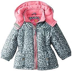 Pink Platinum Baby Girls\' Cheetah Print Puffer, Gray, 18 Months