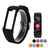 TUSITA Wristband with Screen Protector for Polar A360 / A370,Replacement Adjustable Band Soft Silicone Wrist Strap Bracelet Accessories(Black) (Color: Black)
