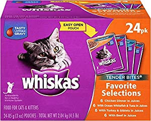 WHISKAS TENDER BITES Favorite Selections Variety Pack Wet Cat Food 3 Ounces (Pack of 24)