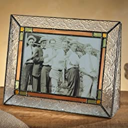 J Devlin Pic 137-57H 5x7 Horizontal Stained Glass Photo Picture Frame Clear Vintage Texture Trimmed in Pale Green with Accents of Rose and Pale Amber Holds 5x7 Landscape Photo
