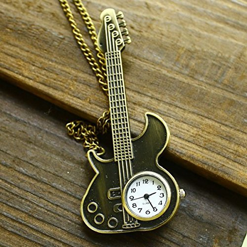 Watch Pocket Antique Vintage Rock Guitar Shaped With Long Chain For Women Ladies