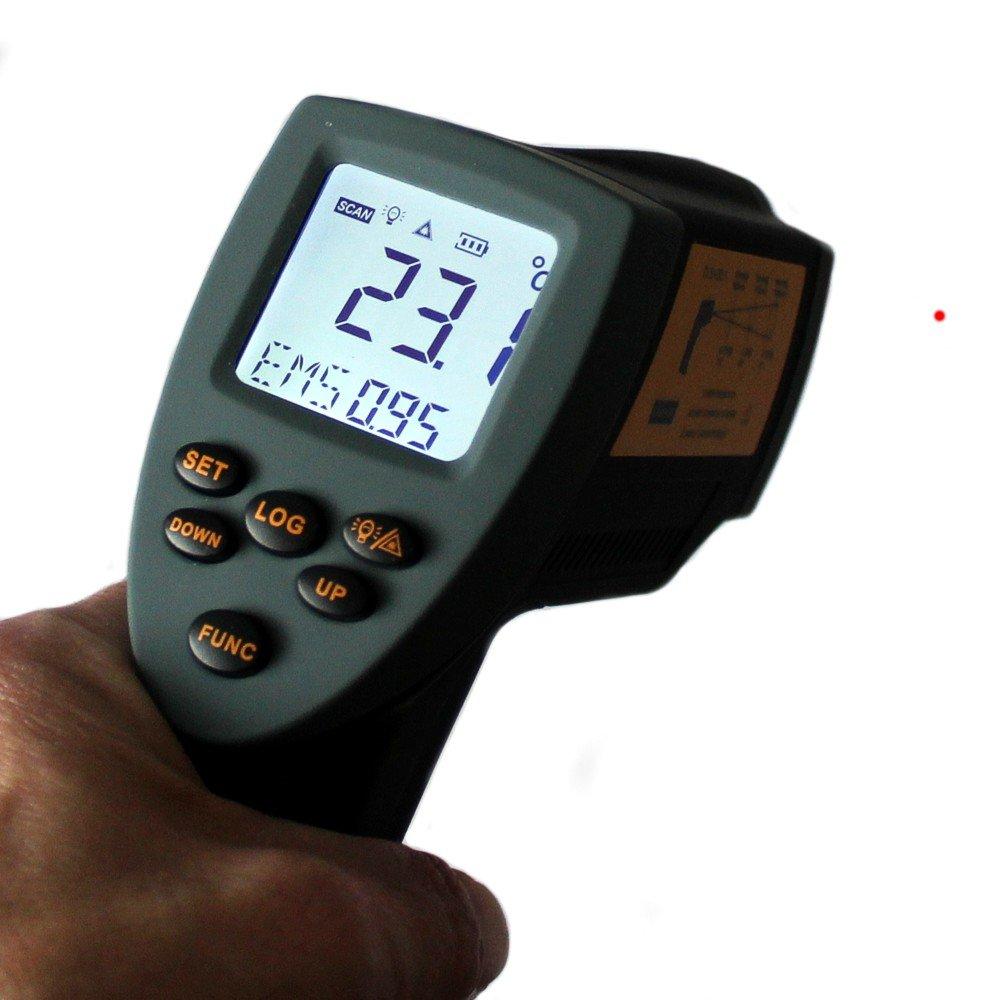 InfrarotThermometer HP1100 30°C bis +1100°C 201 Optik einst. Emissivität Laser  GartenÜberprüfung und Beschreibung