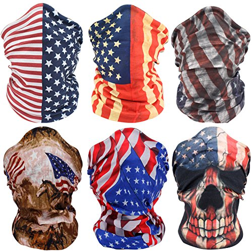 American Flag Face Masks Motorcycle Headwear Sports Bandana Headbands - Multifunctional,Seamless,Tublar,Thin,6PCS (Uv Protective Face Shield compare prices)