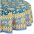 Mahogany Jenna Printed Round Tablecloth, 70-Inch, Blue