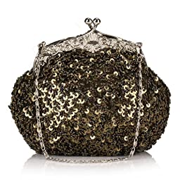 Chicastic Fully Sequined Mesh Beaded Antique Style Wedding Evening Formal Cocktail Clutch Purse - Sage Green