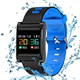 Smart Bracelet Wristband Fitness Tracker Bluetooth Waterproof Camera Control with Messaging and Call Notifications Compatible with iOS/Android (Color: Blue)
