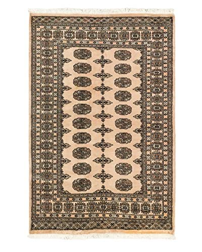 Hand-Knotted Peshawar Bokhara Wool Rug, Ivory, 4' x 6' 1