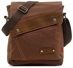 EcoCity Vintage Small Canvas Messenger Bag Shoulder Bag iPad Bags For Men & Women MB0002C2 (Coffee)