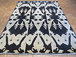 8 x 10 HAND KNOTTED BLACK IKAT ORIENTAL RUG VEGETABLE DYES G1294