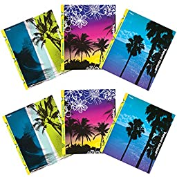 Mead Trapper Keeper 2-Pocket Folders with Snapper Trapper, Prong Fasteners, Fun in the Sun, 6 Pack (73433)