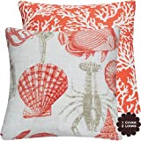 Rock Lobster Coral Outdoor Collection - Decorative Outdoor Toss Pillow Patio Cushion with 18