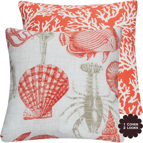 Chloe & Olive Rock Lobster Coral Collection Coral and Ocean Outdoor Reversible Pillow Cover, 18-Inch, Coral
