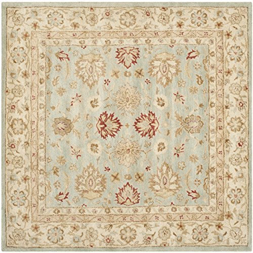Safavieh Antiquity Collection AT822A Handmade Grey Blue and Beige Wool Square Area Rug, 4 feet Square (4' Square)