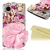 Prix Le Plus Bas Mavis's Diary Transparent Coque Rose Fleur et 3D Bling Strass Etui Housse Crystal Papillon PC Cover pour LG Google Nexus 5 Hard Case