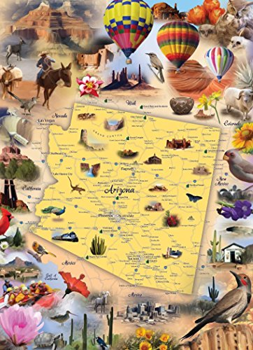 Arizona Map Jigsaw Puzzle - 1000 Piece - Map of the State of Arizona with Beautiful Illustrated Artwork by Hennessy Puzzles - Challenging Puzzle for Kids & Adults - Made in USA with Recycled Materials (Arizona Central compare prices)