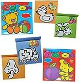 Malblock / Malbuch für Kleinkinder - erstes Malen - mit farbigen Vorlagen - für Mädchen / Jungen - große Malvorlagen - einfache Motive - z.B. Tasche - Ball - Luftballon - Malbücher Ausmalbilder Aufkleber