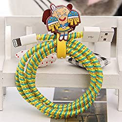 Tospania DIY Cartoon Style Spiral Wire Protectors for Apple Lightning Cables Samsung and other Tablet Charging Cables Earphone Cords and More Mickey Cheerleaders
