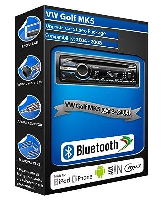 Volkswagen Golf MK5 de lecteur CD et stéréo de voiture Bluetooth kit Mains Libres avec ports USB/AUX pour iPod/iPhone